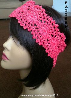 INSTANT DOWNLOAD Crochet Lace Headband  Pattern by natyo2010, $3.50