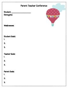 student goal setting form with teacher conference documentation