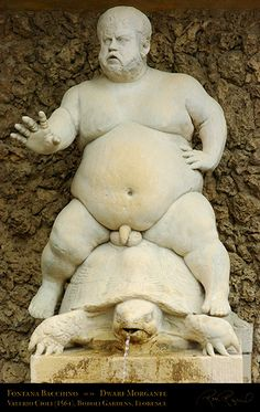 Braccio di Bartolo—a famous court dwarf. The statue before them depicted an obese, naked dwarf straddling a giant turtle. The dwarf's testicles were squashed against the turtle's shell, and the turtle's mouth was dribbling water, as if he were ill.
