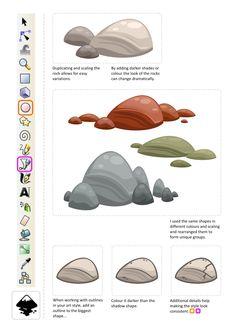 Gamasutra: Chris Hildenbrand's Blog - Rocks - quick and easy - 2D art in inkscape