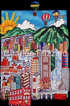 """""""This Is Hong Kong,"""" mixed media pop art by Charles Fazzino. #popart #hongkong"""