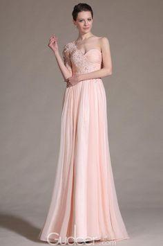 blush chiffon couture evening dress front split
