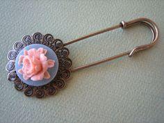Antique Brass  Flower Brooch Pin  Pink on Slate Rose by ZARDENIA, $9.00