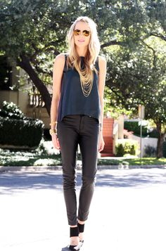 Fall Outfit // teal leather tank, black leather pants, black heels, gold layer chain necklace, gold bracelets