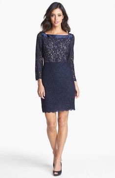 Adrianna Papell Two Tone Lace Sheath Dress Size PETITE 4 Navy #124 #AdriannaPapell #Formal