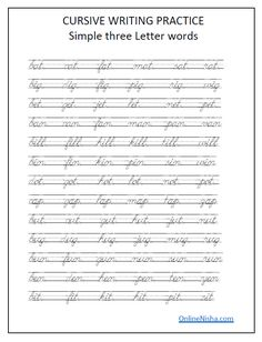 Cursive handwriting worksheets free printables- practice cursive alphabet letters, words and sentences a to z for kindergarten,tracing practice.