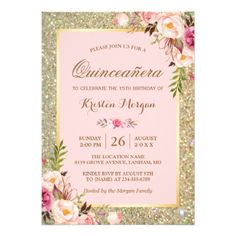 Looking for a suitable baby girl shower invitation? Blush pink theme invitations are the perfect choice for a new mother-to-be expecting her sweet baby girl. Take a look at these lovely blush pink invitations you'll love it. Glitter Invitations, Sweet 16 Invitations, Engagement Party Invitations, Birthday Invitations, Custom Invitations, Baby Shower Floral, Sparkle Baby Shower, Gold Shower, Shower Baby