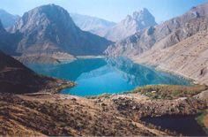 Tajikistan-- crystal blue lake among mountains