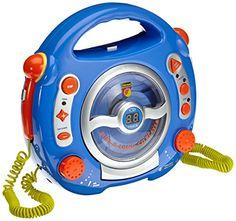 """Idena 6805350 Kinder CD-Player """"SING-A-LONG"""" blau mit 2 Mikrofonen und LED-Display Idena  Anleitung zum adaptieren für Taster hier: http://www.rettforum.de/showthread.php?t=2786"""
