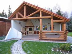 Pin on Bricolaj și artizanat Backyard Patio Designs, Backyard Projects, Backyard Landscaping, Parrilla Exterior, Backyard Fireplace, Outdoor Kitchen Design, House In The Woods, Outdoor Living, Garden Design