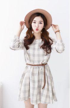 J-ANN - Round-Neck Check Mini Dress #minidress #dress #checkdress #roundneckminidress