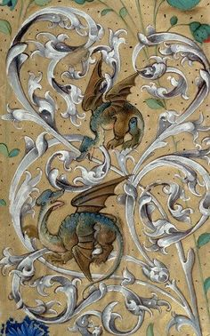 Medieval dragons from a hand drawn manuscript! Medieval Books, Medieval Manuscript, Medieval Art, Renaissance Art, Illuminated Letters, Illuminated Manuscript, Medieval Dragon, Celtic Dragon, Celtic Art