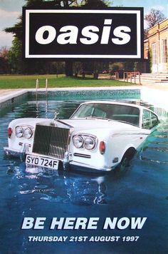 Oasis - be here now poster Rock Posters, Band Posters, Concert Posters, Music Posters, Oasis Band, Pool Images, Liam Gallagher, Britpop, Album Covers