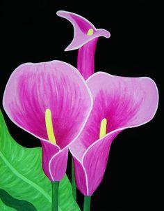 Pink Calla Lilies - acrylic by ©Angelina Vick (via Fine Art America)