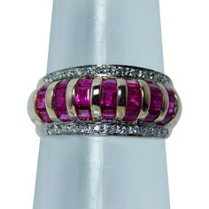 Vintage Princess Ruby Diamond Ring 14K Gold Estate Jewelry with tags from luvmydiamonds on Ruby Lane