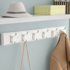 Organize in style with one easy step. This rail with 6 heavy duty coat and hat hooks is designed to hold a wide variety of items such as pet leashes, keys, and small items at your entryway. Steel Sheet Metal, Wood And Metal, Hat And Coat Hooks, Hat Hooks, Easy Bathroom Updates, Metal Board, Entryway Wall, Entryway Storage, Wall Mounted Coat Rack