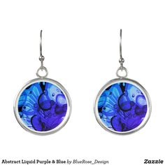 Abstract Liquid Purple & Blue Earrings Blue Earrings, Drop Earrings, Christmas Card Holders, Colorful Backgrounds, Perfume, Pendant Necklace, Abstract, Purple, Silver