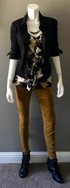 cabi fall '16 Skinny Cord in Umber, Ava Jacket and Jasper Crescent Necklace with our very vintage printed ruffled cami and my latest black booties. http://shaynigeorge.cabionline.com #cabiootd #cabiclothing