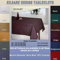 Kildare Discounted Tablecloth Limited Clearance Stock, we have literally sold thousands of the Kildare range, still a good choice of colours (but thining) and all sizes