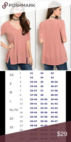 Mauve Tunic Top This cozy mauve top features V neck, side slits, short sleeves and is free flowing. Comfortable knit material. 50% Rayon, 46% Polyester, 4% Spandex. Easy to style. (This closet does not trade or use PayPal) Maronie Tops Tunics
