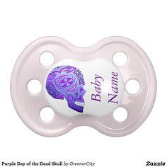 Purple Day of the Dead Skull Pacifier