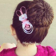 Moño/ hairstyle for girls/ peinados para niñas