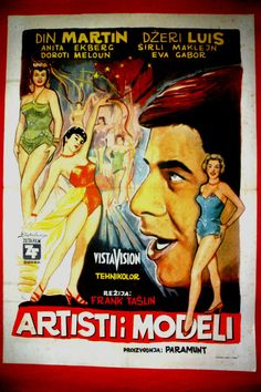 ARTISTS AND MODELS 1955 MARTIN LEWIS MACLAINE EKBERG VERY RARE EXYU MOVIE POSTER