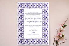 Indian- and Moroccan-inspired prints such as Minted's Block Tile option are perfect for the modern bride.