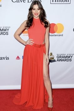 Hailee Steinfeld in ELIE SAAB Ready-to-Wear Spring Summer 2018 at the Clive Davis and Recording Academy Pre-GRAMMY Gala in New York City.