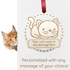 Personalised Engraved Wooden Pet Cat Kitten Hanging Plaque Custom LASER ENGRAVED