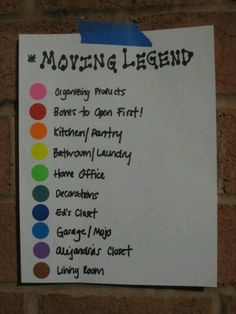 Moving Legend for Color Coding Moving Boxes!