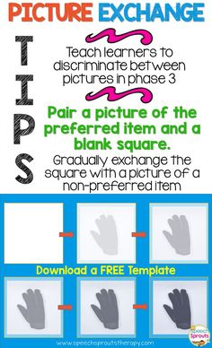Free Template for Picture Exchange Communication cards.This PowerPoint template includes graduated opacity cards for training picture discrimination. For teaching students with autism or other developmental delays.By Speech Sprouts.