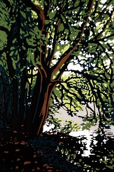 ARTFINDER: Grand Union at Great Linford by Alexandra Buckle - ***Sold Out*** All Eight prints in this edition are now sold. Please take a look at my other listings. A reduction linocut of the Grand Union Canal twinkl. Woodcut Art, Linocut Prints, Landscape Art, Landscape Paintings, Landscapes, Illustrations, Illustration Art, Botanical Illustration, Tree Artwork