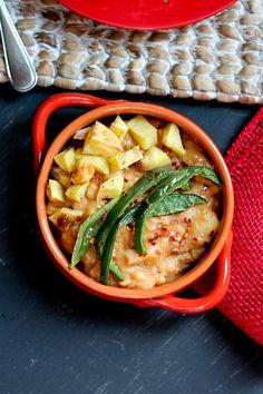 Smoky White Bean Potato Stew with Broiled Poblano Peppers