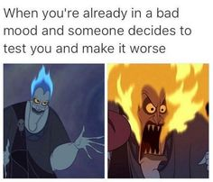 Funny Work Quotes : QUOTATION – Image : Quotes Of the day – Description Whenn you're already in a bad mood and someone decides to test you and make it worse. Humour Disney, Disney Jokes, Funny Disney Memes, Funny Memes, Funny Humour, Bts Memes, Funny Shit, The Funny, Hilarious