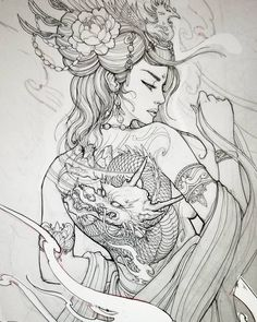 Geisha design for client Geisha Tattoos, Geisha Tattoo Design, Irezumi Tattoos, Japanese Tattoo Art, Japanese Tattoo Designs, Japanese Drawings, Japanese Tattoo Women, Geisha Kunst, Geisha Art