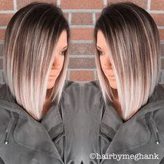 A line bob . Lob . Ombré hair . Medium length .