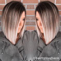 A line bob . Lob . Ombré hair . Medium length .