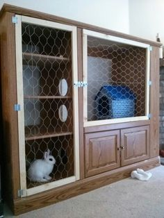 Upcycled DIY bunny hutch out of an entertainment center! My bun bun loves it! :)