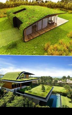 Architecture A green roof has quite a few benefits at financial, ecological and societal poin. A green roof has quite a few benefits at financial, ecological and societal point. Architecture Durable, Architecture Design, Green Architecture, Sustainable Architecture, Contemporary Architecture, Residential Architecture, Roof Design, Exterior Design, House Design