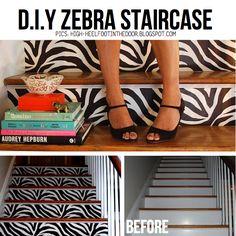 diy zebra stair case