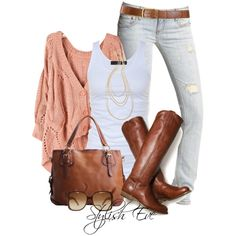 Coral Cardi and jeans