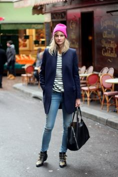 Wearing COS BEANIE, STELLA MCCARTNEY BRYCE COAT, FRAME DENIM FOREVER KARLIE JEANS, COS SWEATER, CHLOE SUSANNA BOOTS, Celine Horizontal Cabas...