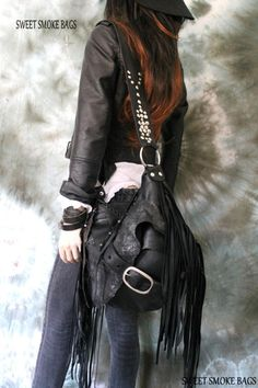 7b000866e3 Black pirate style bag leather crossbody bag fringe hobo unique purse free  boho people bohemian sweet smoke fringed gypsy festival studded