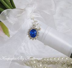Blue Crystal Bouquet Charm by Keepsakes By Katherine