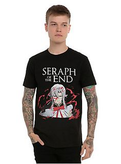 <p>What fuels Yuichiro's desire for revenge against all vampires? This guy. Ferid Bathory - the self-serving & traitorous usual suspect and vampire - known for being particularly adept at pushing one's buttons.</p>  <p>Black T-shirt from the Japanese dark fantasy anime, <i>Seraph of the End: Vampire Reign</i>, featuring a large bloody Ferid Bathory character & logo design on front.</p>  <ul> 	<li>100% cotton</li> 	<li>Wash cold; dry low</li> 	<li>Imported</li> 	<li>Listed in men's si...