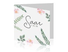 Boho geboortekaartje met watercolor bloemen en takjes