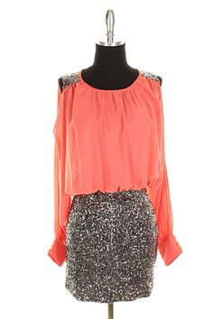 Coral and gold sequins Shop US on Facebook!!