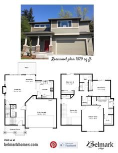 Rosewood plan 1829 sq ft, 3 bedroom & 2.5 bathrooms