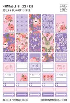 Beautiful April Happy Planner Sticker Kit. #stickers #happyplanner #planner